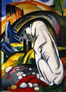 Franz-Marc-_The-White-Dog-also-known-as-Dog-in-front-of-the-World-_
